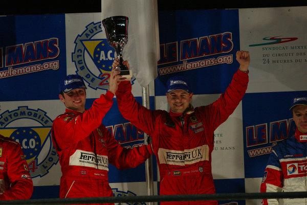 2003 Le Mans 1000kmLe Mans, France. 8th - 9th October 2003.GTS Podium......... Darren Turner and Jamie Davies.World Copyright: John Brooks/LAT Photographicref: Digital Image Only