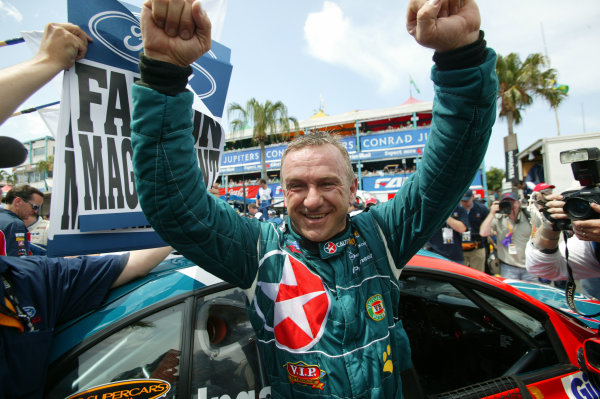 2003 Australian V8 SupercarsSurfers Paradise, Australia. October 25th 2003. Ford Falcon BA driver Russell Ingall celibrates afte winning round 11 of the V8 Supercar 's at the Lexmark Indy on the Gold Coast, Australia this weekend.World Copyright: Mark Horsburgh/LAT Photographicref: Digital Image Only