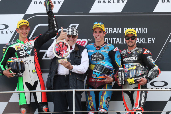 Podium: race winner Alex Marquez, Marc VDS Racing, second place Luca Marini, Sky Racing Team VR46, VD Straten, third place Thomas Luthi, Intact GP.