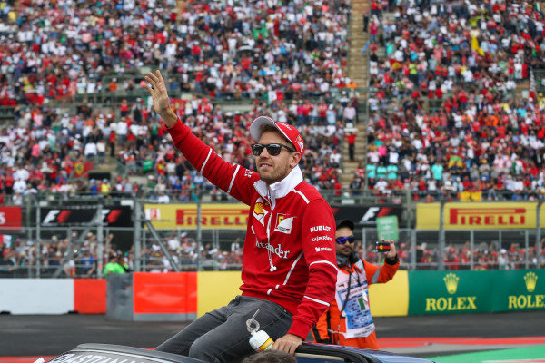 Sebastian Vettel (GER) Ferrari on the drivers parade at Formula One World Championship, Rd18, Mexican Grand Prix, Race, Circuit Hermanos Rodriguez, Mexico City, Mexico, Sunday 29 October 2017.