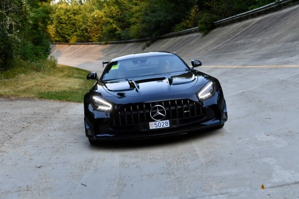 Mercedes AMG GT on the old banking at Monza