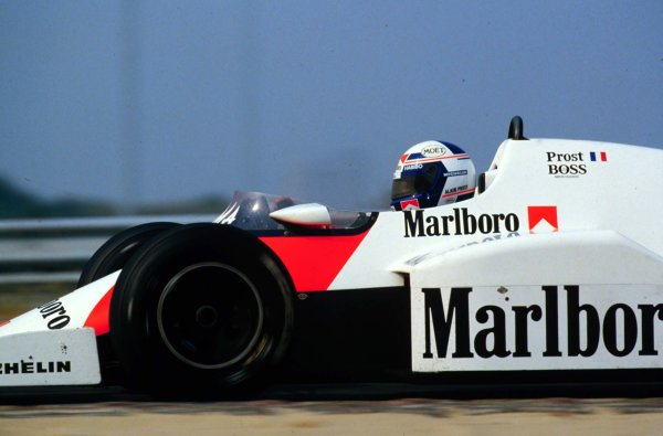 1984 Dutch Grand Prix.Zandvoort, Holland.24-26 August 1984.Alain Prost (McLaren MP4/2 TAG Porsche) 1st position.World Copyright - LAT Photographic