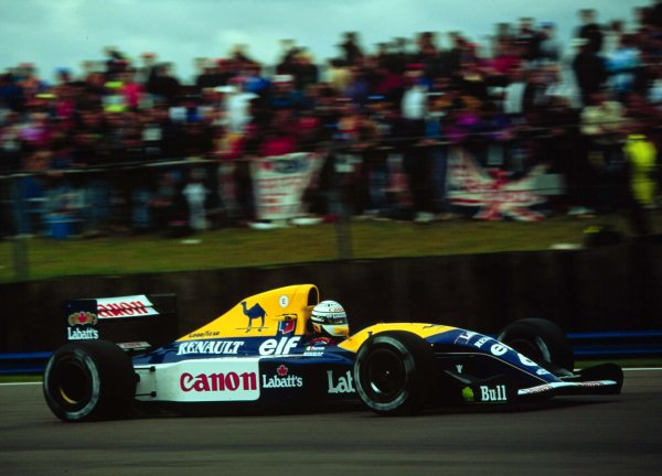 1992 British Grand Prix.Silverstone, England.10-12 July 1992.Riccardo Patrese (Williams FW14B Renault) 2nd position.World Copyright - LAT Photographic
