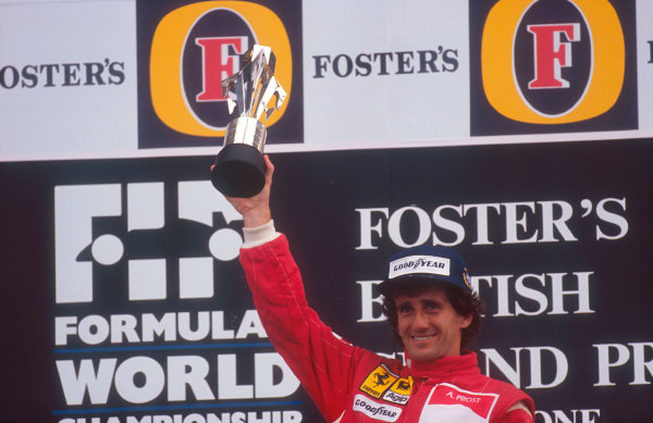 1990 British Grand Prix. Silverstone, England. 13-15 July 1990. Alain Prost (Ferrari) 1st position on the podium. Ref-90 GB 14. World Copyright - LAT Photographic