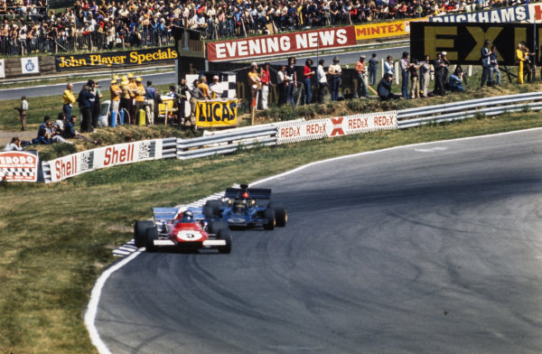 Jacky Ickx, Ferrari 312B2 leads Emerson Fittipaldi, Lotus 72D Ford.