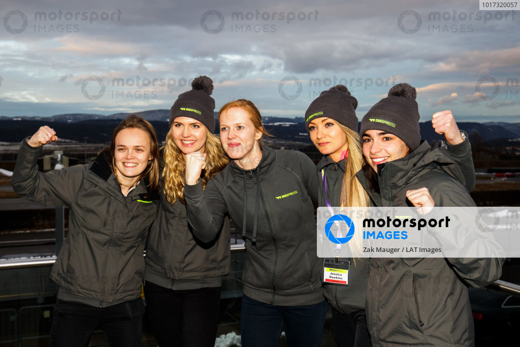 Group shot of the successful British drivers of (L to R) Sarah Moore, Esmee Hawkey, Alice Powell, Jessica Hawkins and Jamie Chadwick
