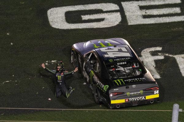 #54: Ty Gibbs, Joe Gibbs Racing, Toyota Supra Monster Energy celebrates his victory
