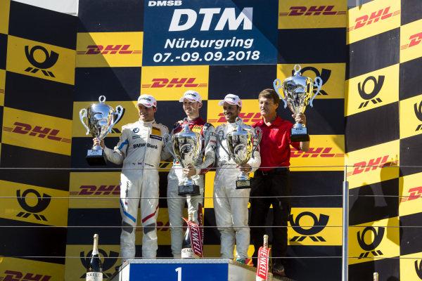 Podium: Race winner René Rast, Audi Sport Team Rosberg, second place Bruno Spengler, BMW Team RBM and third place Gary Paffett, Mercedes-AMG Team HWA.