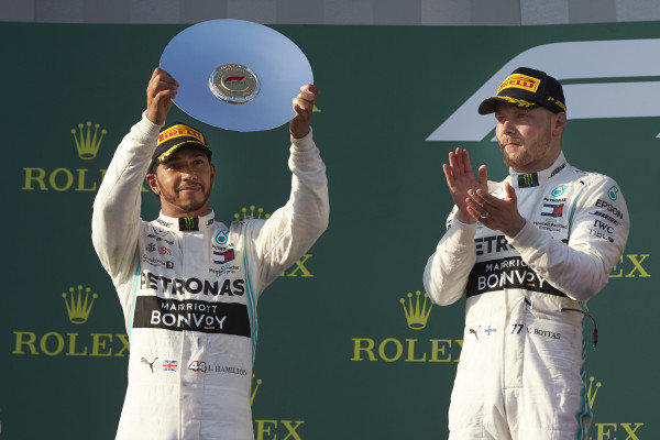 Lewis Hamilton, Mercedes AMG F1, 2nd position, lifts his trophy