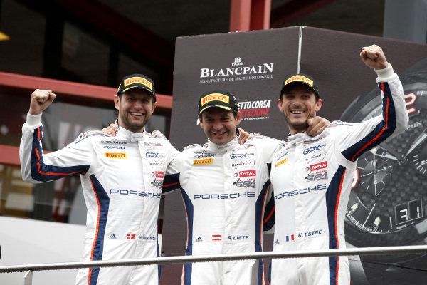 Podium: Winner #20 GPX Racing Porsche 911 GT3 R: Kevin Estre, Michael Christensen, Richard Lietz.