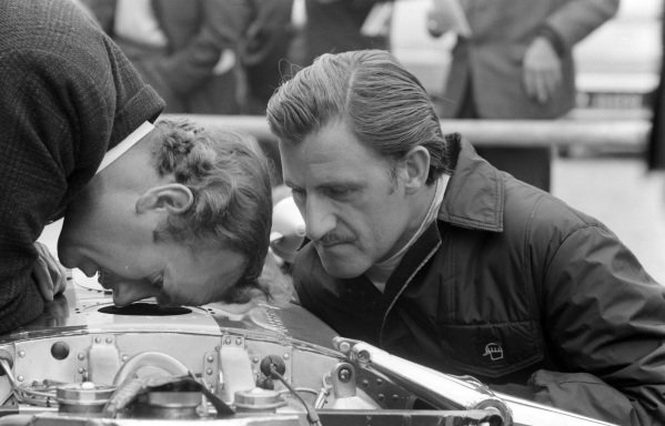 Colin Chapman and Graham Hill working on the latter's Lotus 49 Ford.