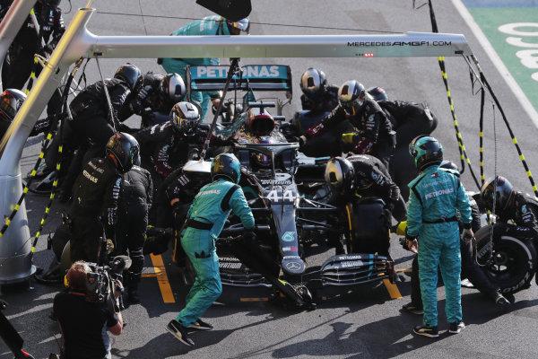 Lewis Hamilton, Mercedes F1 W11 EQ Performance, in the pits