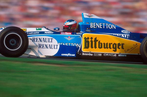 Hockenheim, Germany.28-30 July 1995.Michael Schumacher (Benetton B195 Renault) 1st position.Ref-95 GER 13.World Copyright - LAT Photographic