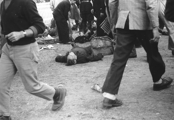 """Le Mans, France. 11-12 June 1955.The aftermath of the worst tragedy in motor racing history. After 2 hours of the race """"Pierre Levegh"""" crashed into the crowd killing himself and 82 spectators. Picture 5 of 5. Ref-Motor 5682G/30.World Copyright - LAT Photographic"""