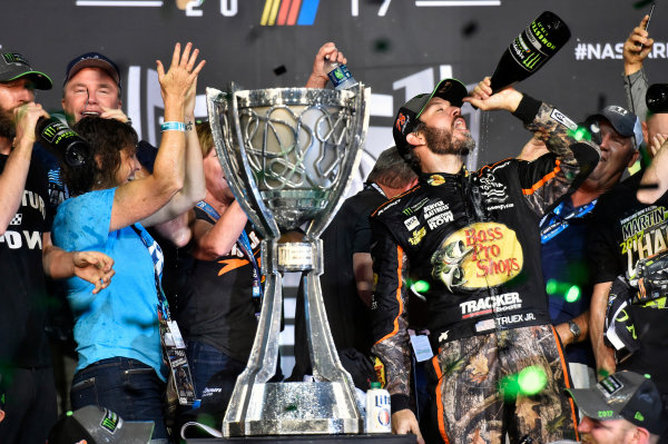Monster Energy NASCAR Cup Series Ford EcoBoost 400 Homestead-Miami Speedway, Homestead, FL USA Sunday 19 November 2017 Martin Truex Jr, Furniture Row Racing, Bass Pro Shops / Tracker Boats Toyota Camry celebrates winning the 2017 Monster Energy Cup Series Championship  World Copyright: Nigel Kinrade LAT Images