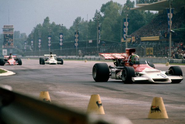 Monza, Italy. 10 September 1972.Reine Wisell, B.R M. P160C, 12th position, leads Denny Hulme, McLaren M19C-Ford, 3rd position and Ronnie Peterson, March 721G-Ford, 9th position, action. World Copyright: LAT Photographic.Ref:  72ITA68.