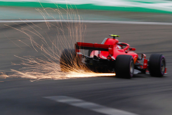 Sebastian Vettel, Ferrari SF71H, strikes up sparks.