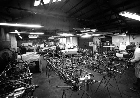 The Brabham factory with customer F3 and F2 cars under constructionNr. Woking, Surrey in 1970