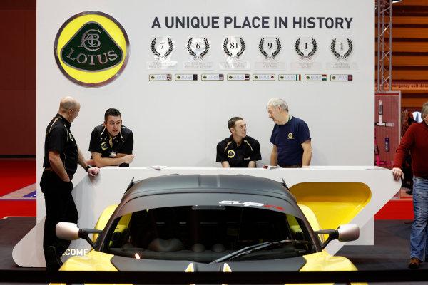 Autosport International Show NEC, Birmingham.  Sunday 12 January 2014. The Lotus stand. World Copyright:Adam Warner/LAT Photographic ref: Digital Image _MG_8244