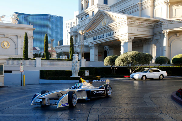 5-6 January, 2014, Las Vegas, Nevada USA Former F1 driver Lucas di Grassi drives the new Spark-Renault SRT_01E Formula E car through the car park at Caesar's Place casino ©2014, Lesley Ann Miller LAT Photo USA