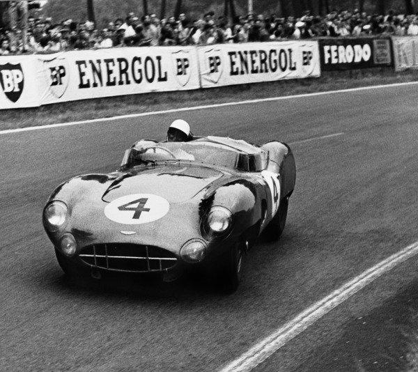 Le Mans, France. 20th - 21st June 1959.Stirling Moss / Jack Fairman (Aston Martin DBR1), retired, action.World Copyright: LAT PhotographicRef: B/W Print.