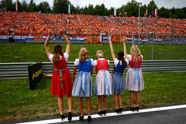 Red Bull Ring, Spielberg, Austria. Sunday 09 July 2017. Austrian promotiona girls wave to fans. World Copyright: Andy Hone/LAT Images ref: Digital Image _ONY2308