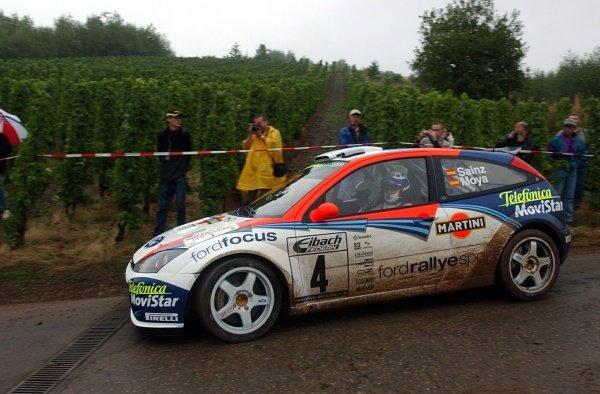 Carlos Sainz (ESP) Ford Focus WRC RS 02.World Rally Championship, Rd10, Shakedown, ADAC Rallye Deutschland, Trier, Germany. 22 August 2002.DIGITAL IMAGE