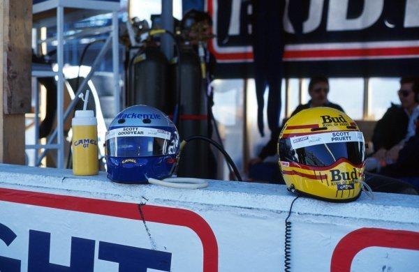 The helmets of Scott Goodyear (CDN) and Scott Pruett (USA) on the pitwall.IMSA GTP Championship, Rd1, Daytona 24 Hours, Daytona Beach, Florida, USA. 2 January 1992.BEST IMAGE