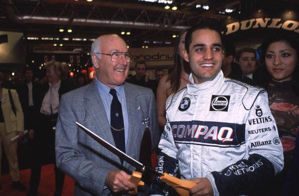 2001 Autosport International Show. NEC, Birmingham, England. 11th - 14th January 2001. Murray Walker and Juan Pablo Montoya World Copyright - Dixon / LAT Photographic ref: 01show16