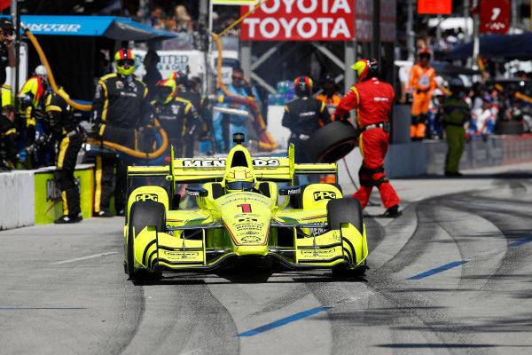 2017 Verizon IndyCar Series Toyota Grand Prix of Long Beach Streets of Long Beach, CA USA Sunday 9 April 2017 Simon Pagenaud, pit stop World Copyright: Michael L. Levitt LAT Images