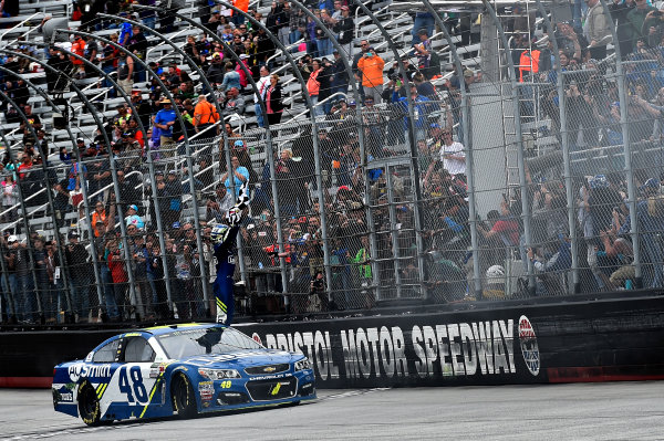 Monster Energy NASCAR Cup Series Food City 500 Bristol Motor Speedway, Bristol, TN USA Jimmie Johnson wins the Food City 500 World Copyright: Rusty Jarrett LAT Images ref: Digital Image 17BMS1rj_8650