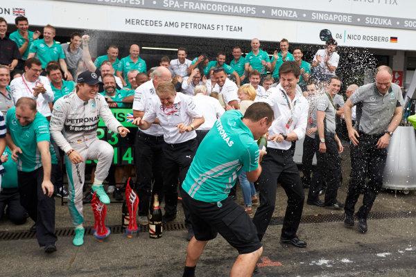Hockenheimring, Hockenheim, Germany. Sunday 20 July 2014. Nico Rosberg, Mercedes AMG, 1st Position, and the Mercedes team celebrate victory. World Copyright: Steve Etherington/LAT Photographic. ref: Digital Image SNE27099