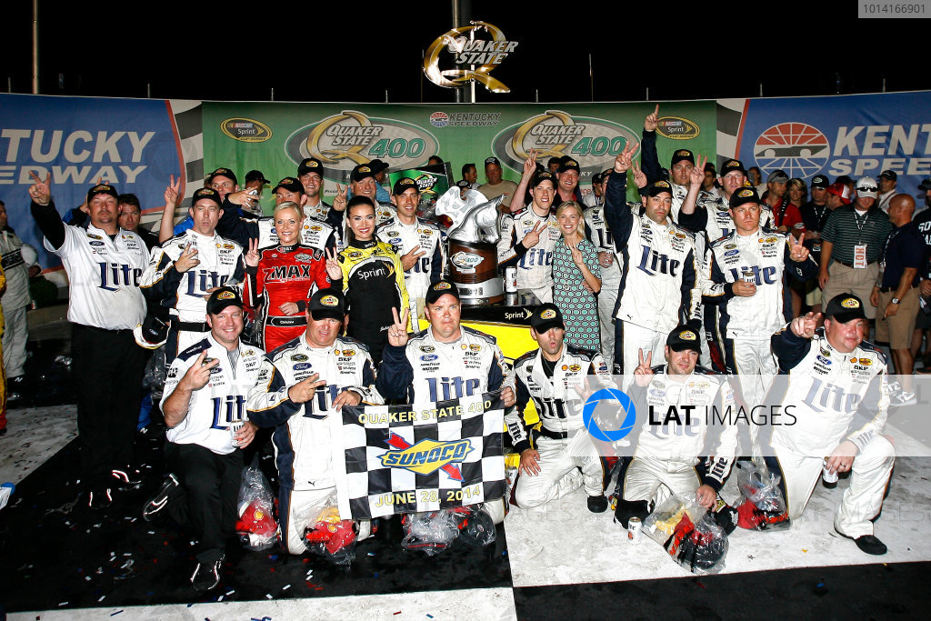 27-28 June, 2014, Sparta, Kentucky USA Brad Keselowski celebrates in victory lane ?2014, Russell LaBounty LAT Photo USA