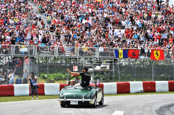 Lewis Hamilton (GBR) Mercedes AMG F1 on the drivers parade at Formula One World Championship, Rd7, Canadian Grand Prix, Race, Montreal, Canada, Sunday 7 June 2015.