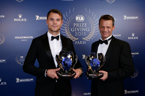 2015 FIA Prize Giving Paris, France Friday 4th December 2015 Andreas Mikkelsen and Ola Foene, portrait  Photo: Copyright Free FOR EDITORIAL USE ONLY. Mandatory Credit: FIA / Jean Michel Le Meur  / DPPI ref: _ML23448