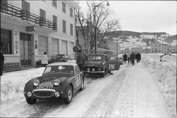 1959 Monte Carlo Rally. Monte Carlo Monaco. 16th - 25th January 1959. Tommy Wisdom / Douglas Johns (Austin-Healey Sprite), 5th in Class, 63rd overall. World Copyright: LAT Photographic.  Ref:  8148D - 16.
