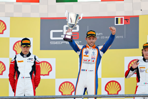 2015 GP3 Series Round 5.  Spa-Francorchamps, Spa, Belgium.  Sunday 23 August 2015. Luca Ghiotto (ITA, Trident), celebrates on the podium with Esteban Ocon (FRA, ART Grand Prix) and Alfonso Celis Jr (MEX, ART Grand Prix) World Copyright: Sam Bloxham/LAT Photographic ref: Digital Image _SBL9005