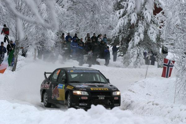 2004 FIA World Rally Champs. Round two, Swedish Rally.5th-8th February 2004.Mattias Ekstrom, Mitsubishi, action.World Copyright: McKlein/LAT