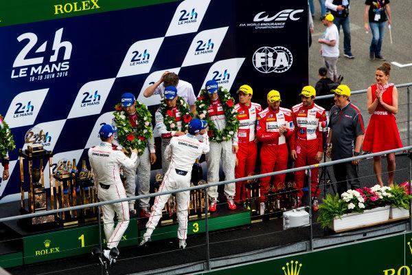 2016 Le Mans 24 Hours. Circuit de la Sarthe, Le Mans, France. Sunday 19 June 2016. Porsche Team / Porsche 919 Hybrid - Romain Dumas (FRA), Neel Jani (CHE), Marc Lieb (DEU), Toyota Gazoo Racing / Toyota TS050 - Hybrid - Stephane Sarrazin (FRA), Michael Conway (GBR), Kamui Kobayashi (JPN), Audi Sport Team Joest / Audi R18 - Lucas Di Grassi (BRA), Loic Duval (FRA), Oliver Jarvis (GBR), Rebellion Racing / Rebellion R-One-AER - Nicolas Prost (FRA), Nick Heidfeld (DEU), Nelson Piquet (NLD).  World Copyright: Zak Mauger/LAT Photographic ref: Digital Image _79P9129