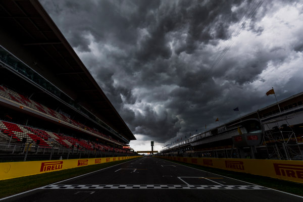 2017 GP3 Series Round 1.  Circuit de Catalunya, Barcelona, Spain. Thursday 11 May 2017. A view of the circuit with stormy skies above. Photo: Zak Mauger/GP3 Series Media Service. ref: Digital Image _56I6703