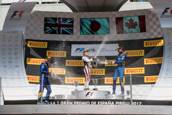 2017 FIA Formula 2 Round 2. Circuit de Catalunya, Barcelona, Spain. Sunday 14 May 2017. Oliver Rowland (GBR, DAMS), Nobuharu Matsushita (JPN, ART Grand Prix), Nicholas Latifi (CAN, DAMS)  Photo: Zak Mauger/FIA Formula 2. ref: Digital Image _56I0266