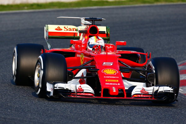 Circuit de Barcelona Catalunya, Barcelona, Spain. Monday 27 February 2017. Sebastian Vettel, Ferrari.  World Copyright: Zak Mauger/LAT Images ref: Digital Image _L0U9720