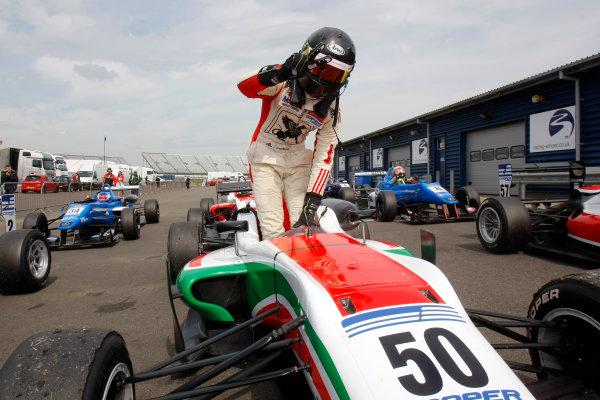 2014 Cooper Tires British Formula 3 International Series, Rockingham Motor Speedway, Northamptonshire. 4th - 5th May 2014.  Sam MacLeod (GBR) Fortec Motorsports Dallara Mercedes. World Copyright: Ebrey / LAT Photographic.