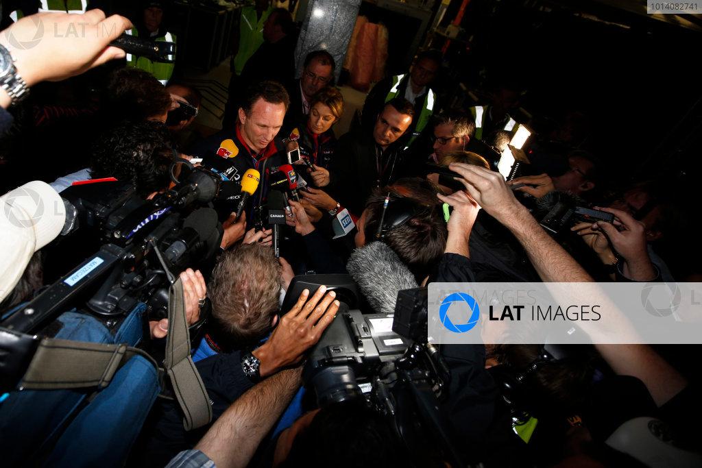 Albert Park, Melbourne, Australia. Sunday 16 March 2014. Christian Horner, Team Principal, Red Bull Racing, addresses the media regarding the disqualification of the car of Daniel Ricciardo, Red Bull Racing. World Copyright: Charles Coates/LAT Photographic. ref: Digital Image _J5R6637