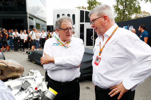 Autodromo Nazionale di Monza, Italy. Thursday 31 August 2017 Didier Perrin and Ross Brawn with the new F2 engine in the paddock. Photo: Sam Bloxham/FIA Formula 2 ref: Digital Image _W6I1987