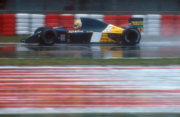 1991 San Marino Grand Prix.Imola, Italy.26-28 April 1991.Pierluigi Martini (Minardi M191 Ferrari) 4th position.Ref-91 SM 01.World Copyright - LAT Photographic