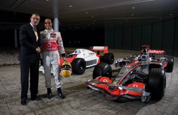 (L to R): Jean-Christophe Babin, CEO and President TAG Heuer and Lewis Hamilton (GBR) McLaren.TAG Heuer Celebrate 150 Years and 25 Years with McLaren, McLaren Technology Centre, Woking, England, 3 December 2009.