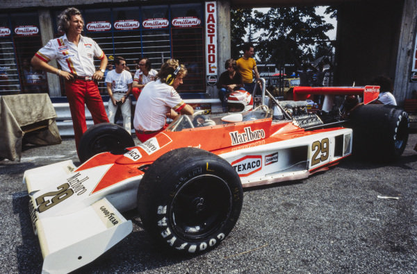 Nelson Piquet sits in his BS Fabrications McLaren M23 Ford.