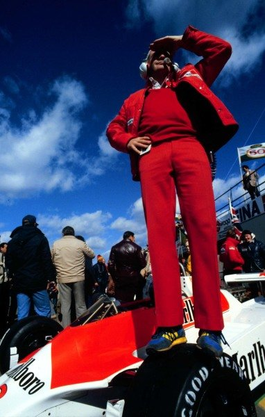 """1980 Canadian Grand Prix.Montreal, Quebec, Canada.26-28 September 1980.Edward """"Teddy"""" Mayer (McLaren Ford) surveys the pits.World Copyright - LAT Photographic"""