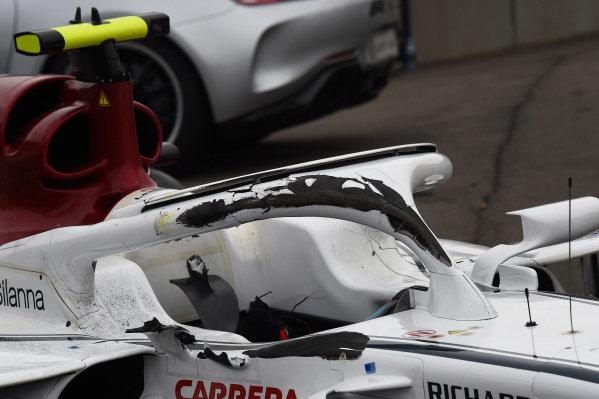 Damaged halo on the crashed car of race retiree Charles Leclerc, Alfa Romeo Sauber C37